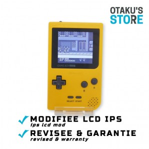Yellow IPS LCD mod Game Boy Pocket console - backlit