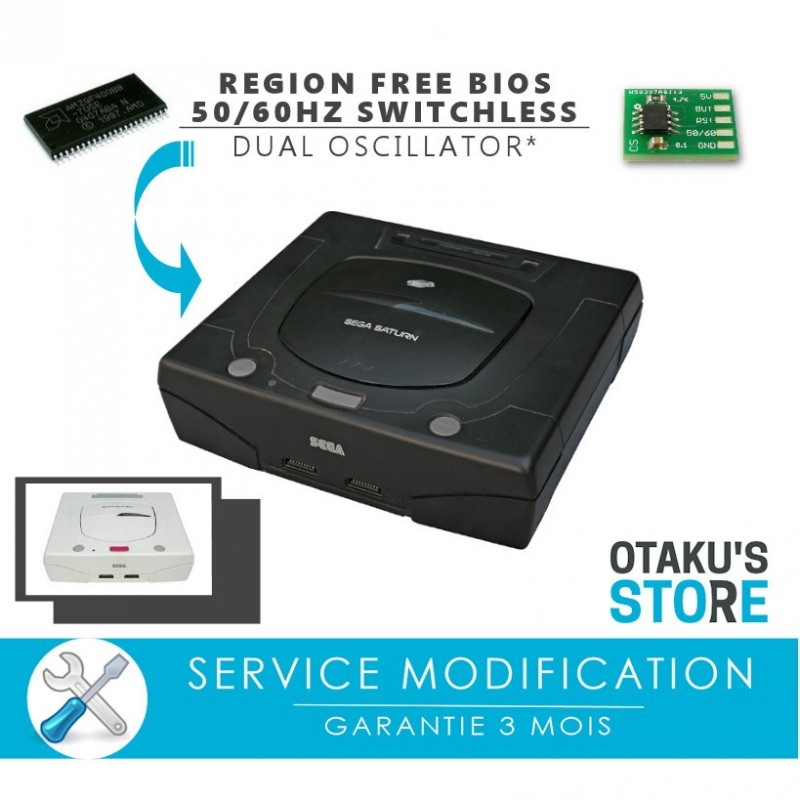 Bios region free + 50 / 60Hz switchless installation mod service for Saturn  - Modding service - Dual oscillator - SEGA